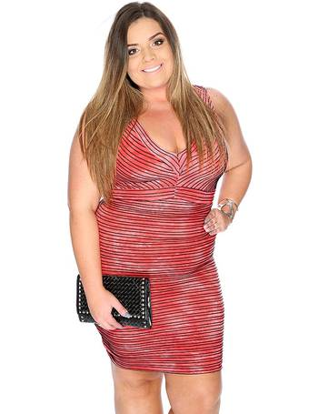 fffead06b8d Sexy Coral Sleeveless V Neck Stripe Plus Size Party Dress from Amiclubwear