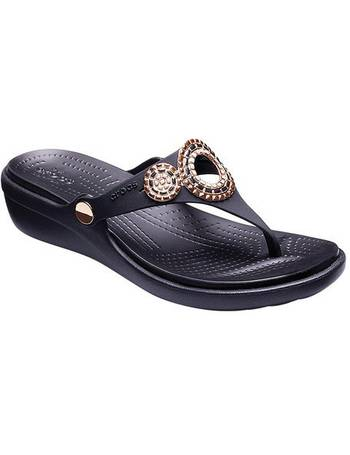 0ef8b5df98b4 Women s Crocs Sanrah Embellished Diamante Wedge Thong Sandal from Shoes.com