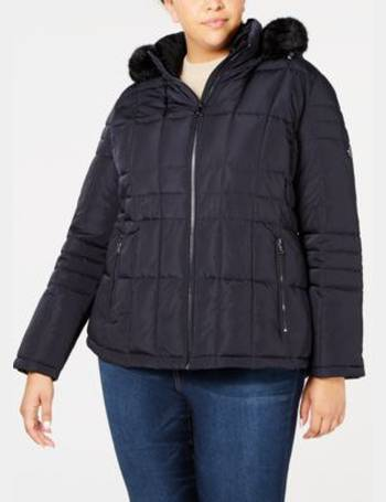 b43852ff88c Calvin Klein. Plus Size Faux-Fur-Trim Puffer Coat