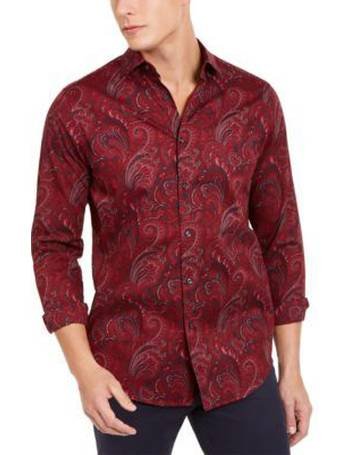 Tasso Elba Mens Tonal Paisley Button Up Shirt