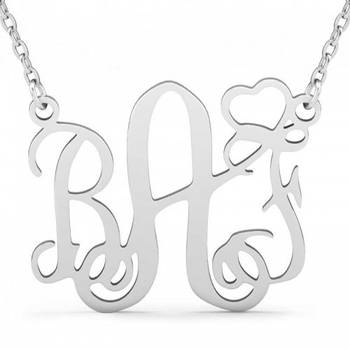 d4cdd08ec Jeulia Initial Monogram Necklace With Heart Srerling Silver from Jeulia  Jewelry