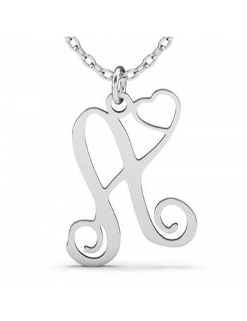 bed0c3603 Jeulia One Initial Monogram With Heart Necklace Sterling Silver from Jeulia  Jewelry