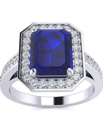 8b1adba27 SuperJeweler. 3 1/3 Carat Emerald Shape Sapphire and Halo Diamond Ring In  14 Karat White Gold
