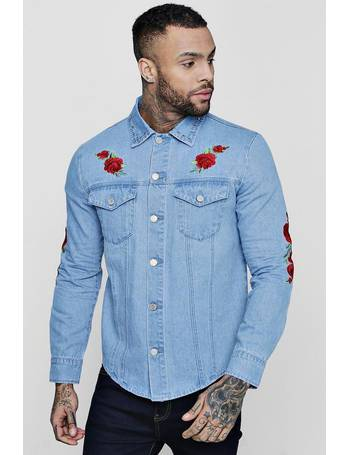 7745b64ba2 Long Sleeve Rose Embroidered Denim Shacket from boohooMAN