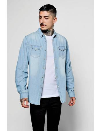 168785ca80 Pale Blue Wash Long Sleeve Denim Shirt With Double Pockets from boohooMAN