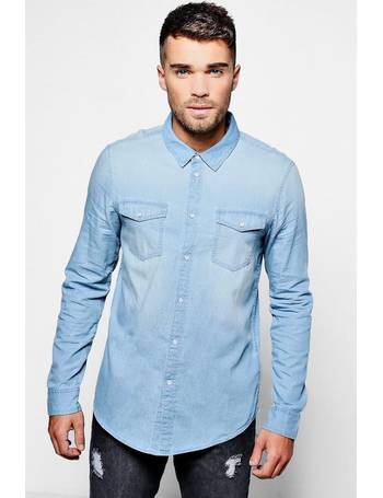 47ccfeb6ac Long Sleeve Blue Pale Wash Denim Shirt from boohooMAN