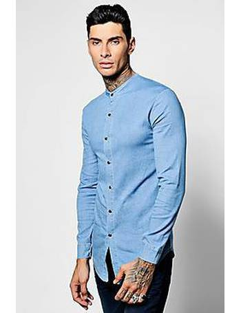 767d7c646f Long Sleeve Denim Chambray Shirt with Grandad Collar from boohooMAN