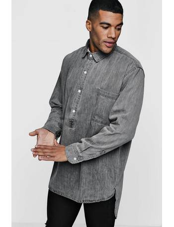 589fdf9de2 Oversized Denim Shacket With Placket from boohooMAN