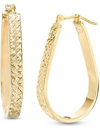 d0ed2908323a Diamond-Cut Pear-Shaped Woven Hoop Earrings in 14K Gold from Zales