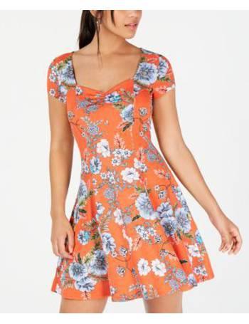 Be Bop Womens Purple Floral Print Keyhole Neck Skater Dress Juniors S BHFO 2963