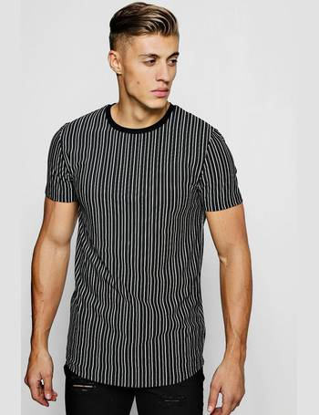 f0da86d91 Muscle Fit Longline Metallic Stripe T-Shirt from boohooMAN