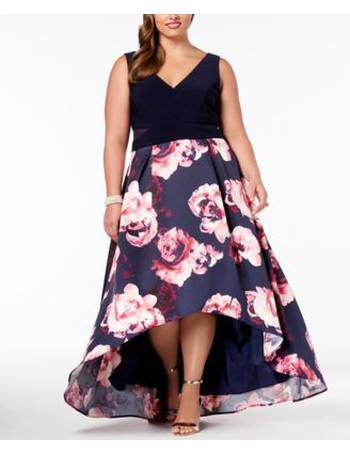 cb6a27ed Xscape. Plus Size Solid & Floral-Print High-Low Gown. from Macy's