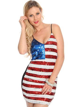 8dfa3433065 Red White Blue Flag Sequin Design Sexy Party Dress from Amiclubwear