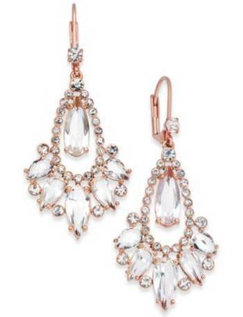 2874290795eaa 14k Rose Gold-Plated Crystal Teardrop Chandelier Earrings