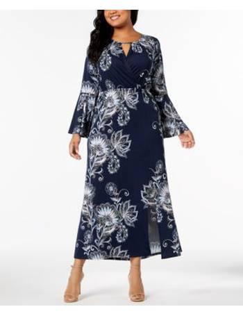 2005060cab2 NY Collection. Plus   Petite Plus Size Printed Keyhole Maxi Dress
