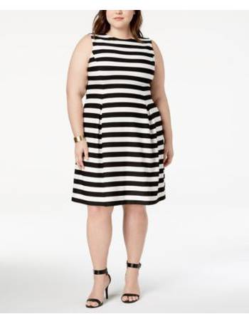 63978b19b7c2c Jessica Howard. Plus Size Striped Fit & Flare Dress. from Macy's