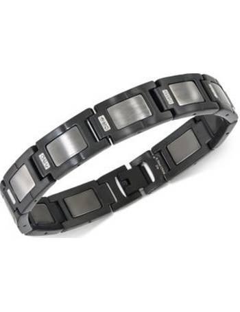 5be0308d7d77 Esquire Men s Jewelry. Diamond Accent Link Bracelet in Gunmetal Stainless  Steel