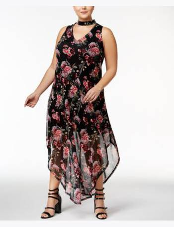 Love Squared Trendy Plus Size Printed High-Low Maxi Dress