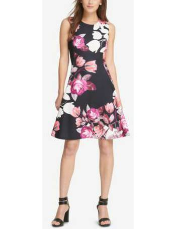 Lace Print Fit Flare Dress