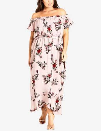Trendy Plus Size Printed Off-The-Shoulder Maxi Dress
